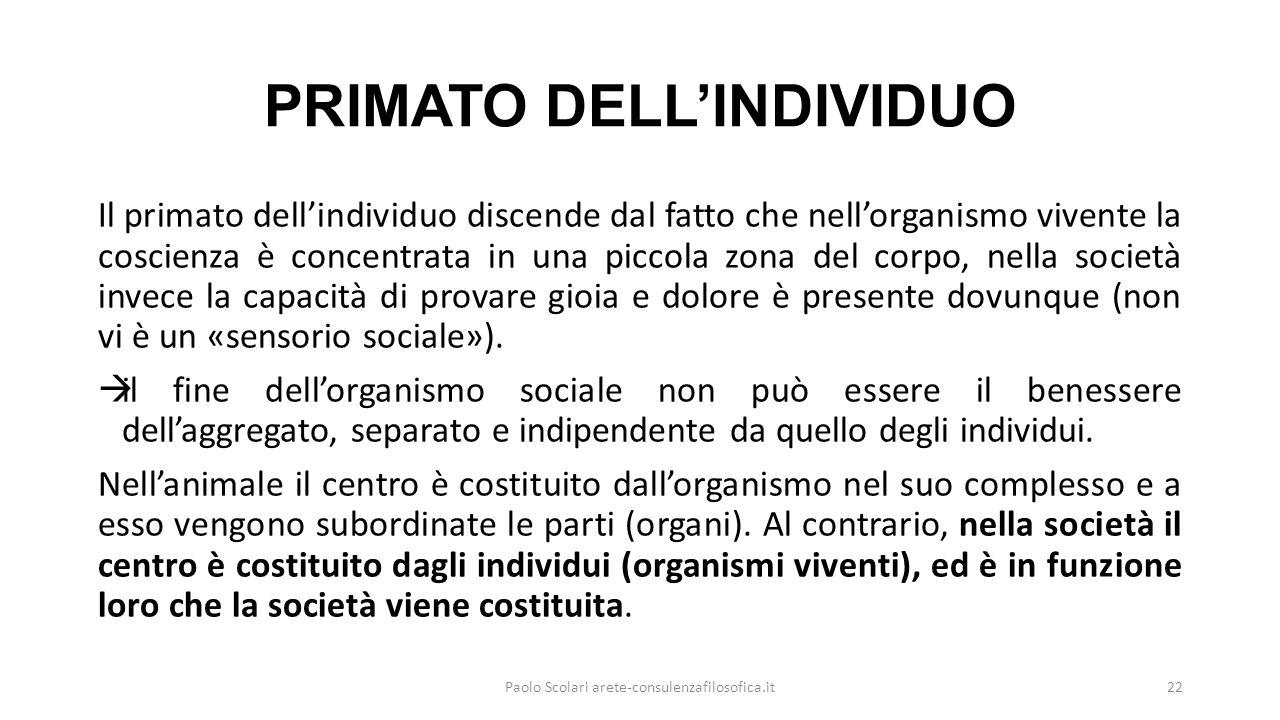 PRIMATO DELL'INDIVIDUO