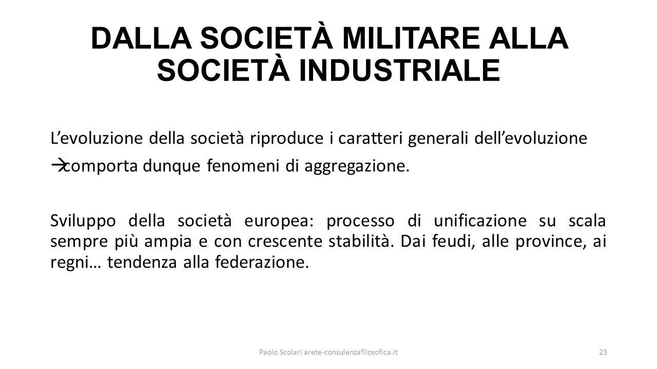 DALLA SOCIETÀ MILITARE ALLA SOCIETÀ INDUSTRIALE