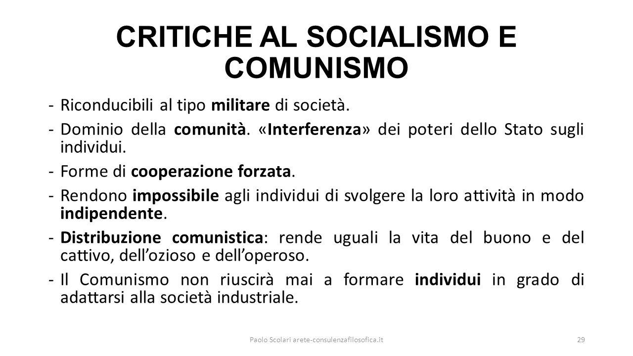 CRITICHE AL SOCIALISMO E COMUNISMO