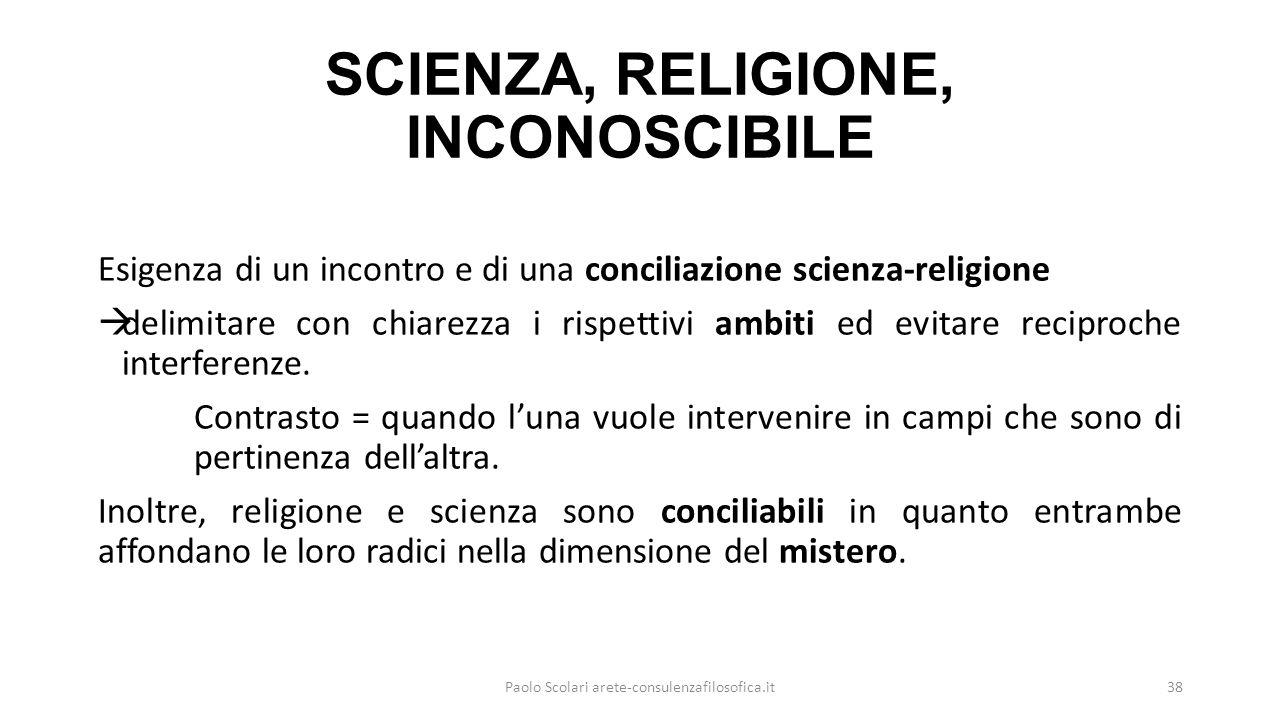 SCIENZA, RELIGIONE, INCONOSCIBILE