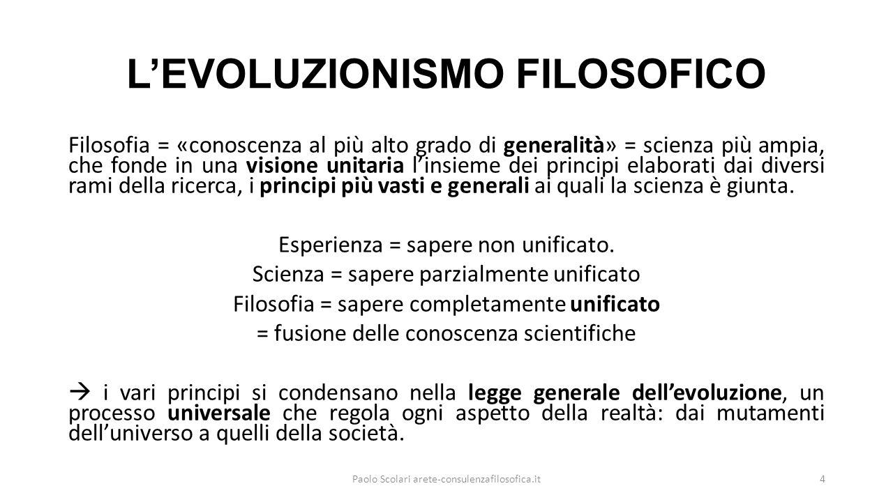 L'EVOLUZIONISMO FILOSOFICO