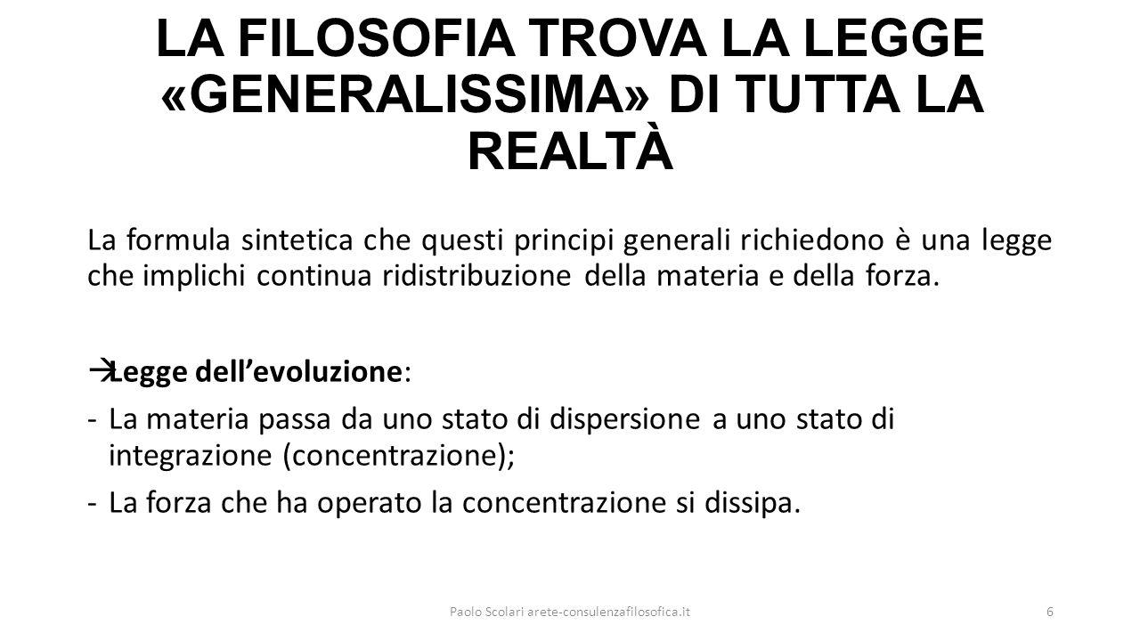 LA FILOSOFIA TROVA LA LEGGE «GENERALISSIMA» DI TUTTA LA REALTÀ