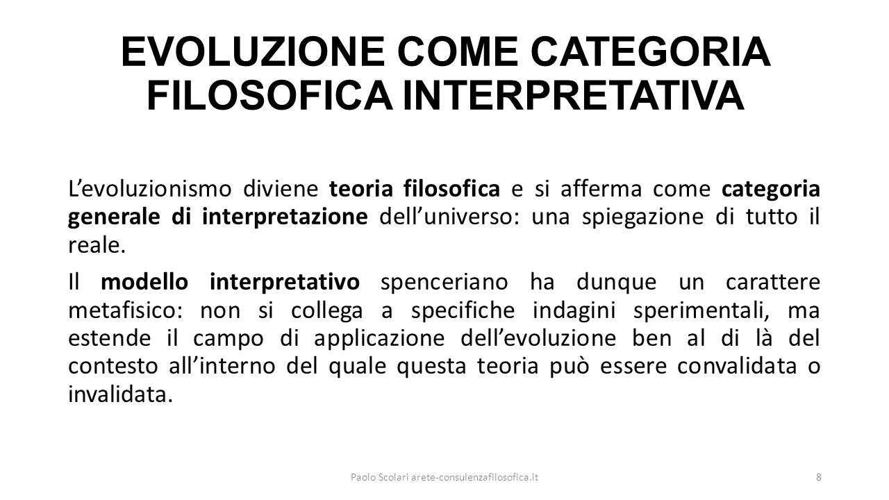 EVOLUZIONE COME CATEGORIA FILOSOFICA INTERPRETATIVA