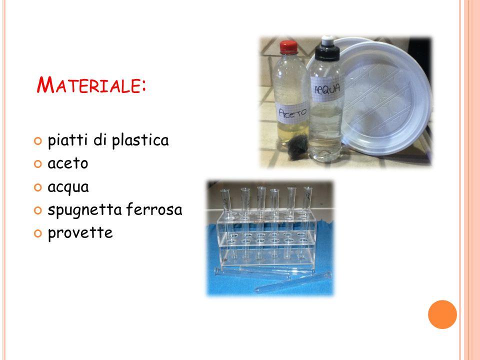 Materiale: piatti di plastica aceto acqua spugnetta ferrosa provette