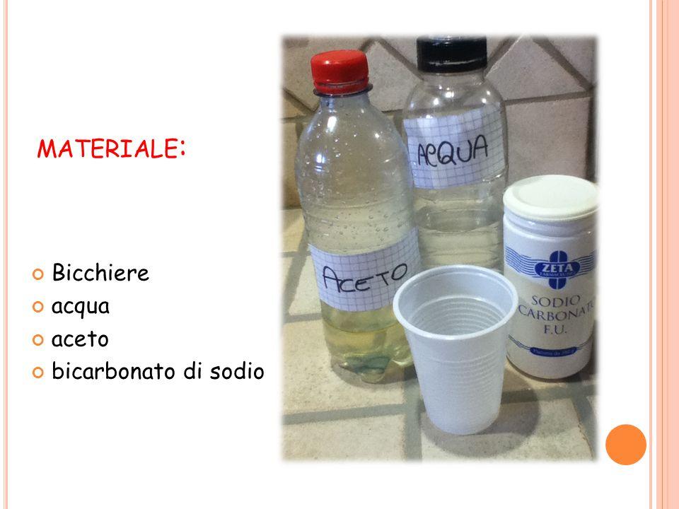 materiale: Bicchiere acqua aceto bicarbonato di sodio
