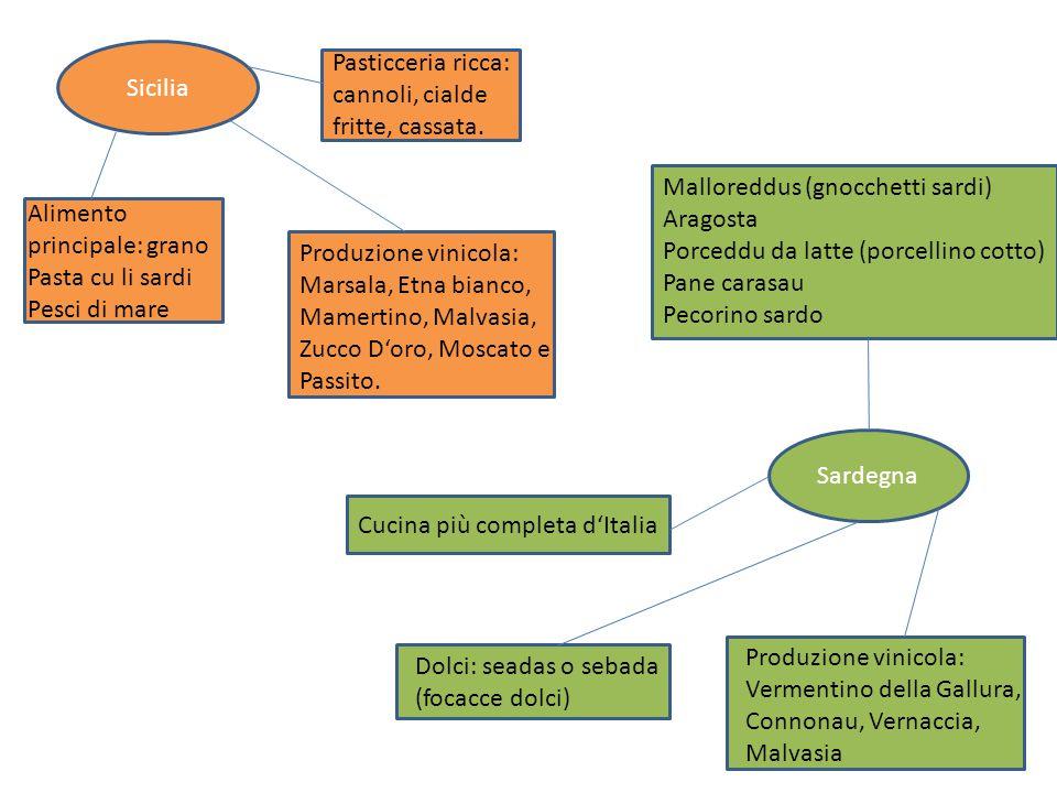 Sicilia Pasticceria ricca: cannoli, cialde fritte, cassata. Malloreddus (gnocchetti sardi) Aragosta.