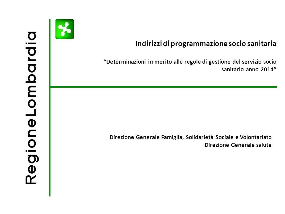 Indirizzi di programmazione socio sanitaria