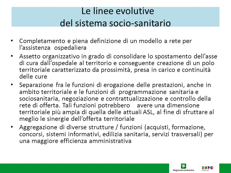 Le linee evolutive del sistema socio-sanitario