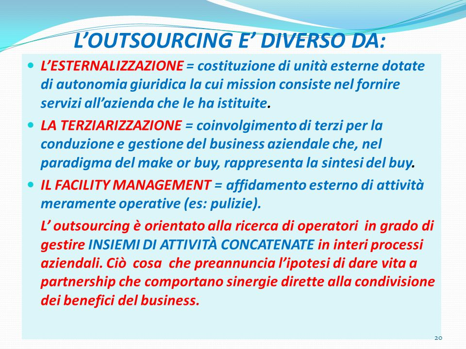 L'OUTSOURCING E' DIVERSO DA: