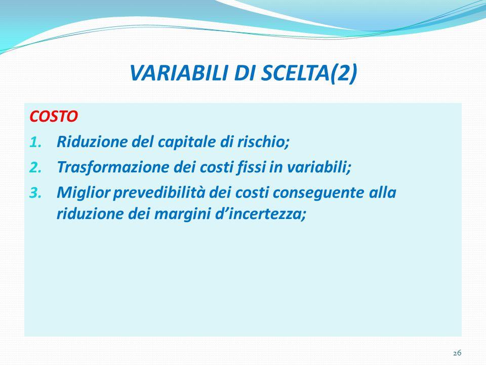 VARIABILI DI SCELTA(2) COSTO Riduzione del capitale di rischio;