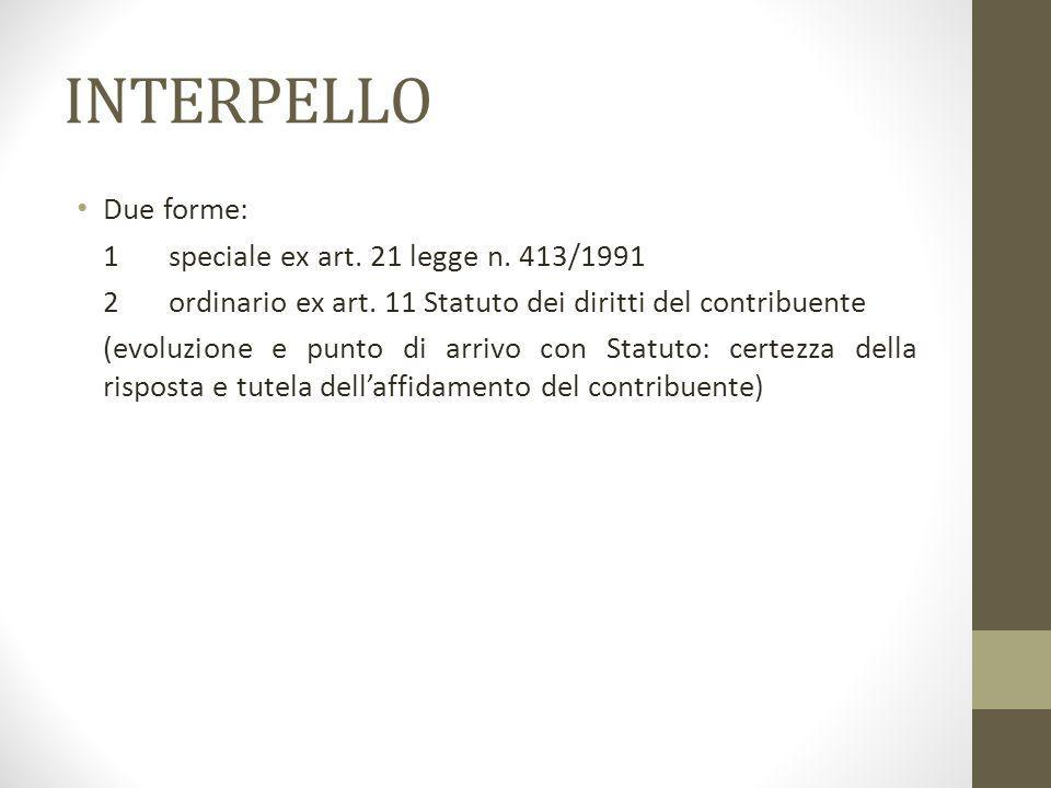 INTERPELLO Due forme: 1 speciale ex art. 21 legge n. 413/1991