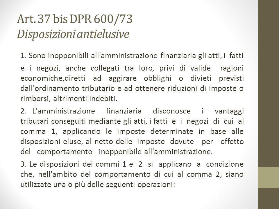 Art. 37 bis DPR 600/73 Disposizioni antielusive
