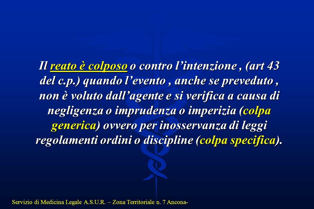Il reato è colposo o contro l'intenzione , (art 43 del c. p