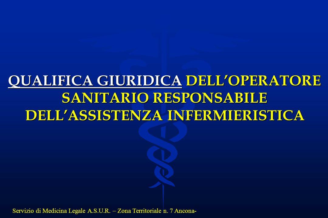 QUALIFICA GIURIDICA DELL'OPERATORE SANITARIO RESPONSABILE
