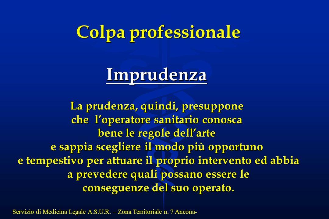 Colpa professionale Imprudenza