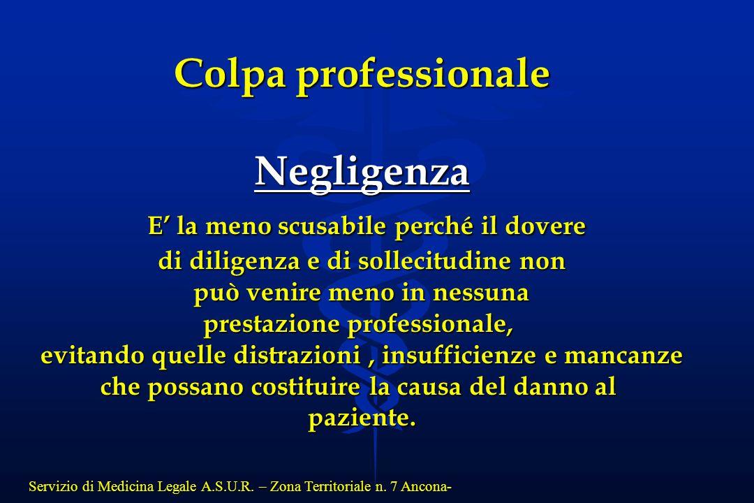 Colpa professionale Negligenza E' la meno scusabile perché il dovere