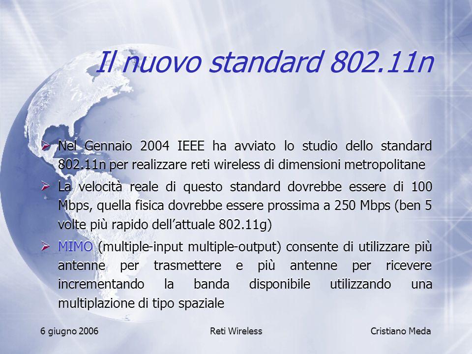 Il nuovo standard 802.11n Nel Gennaio 2004 IEEE ha avviato lo studio dello standard 802.11n per realizzare reti wireless di dimensioni metropolitane.