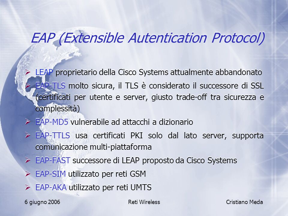EAP (Extensible Autentication Protocol)