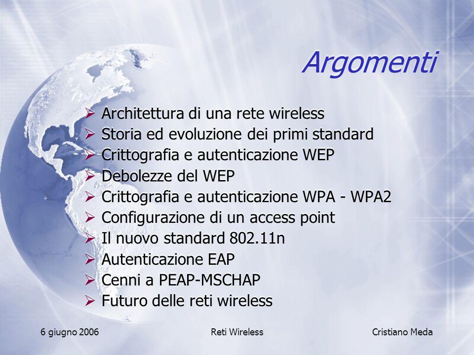 Argomenti Architettura di una rete wireless