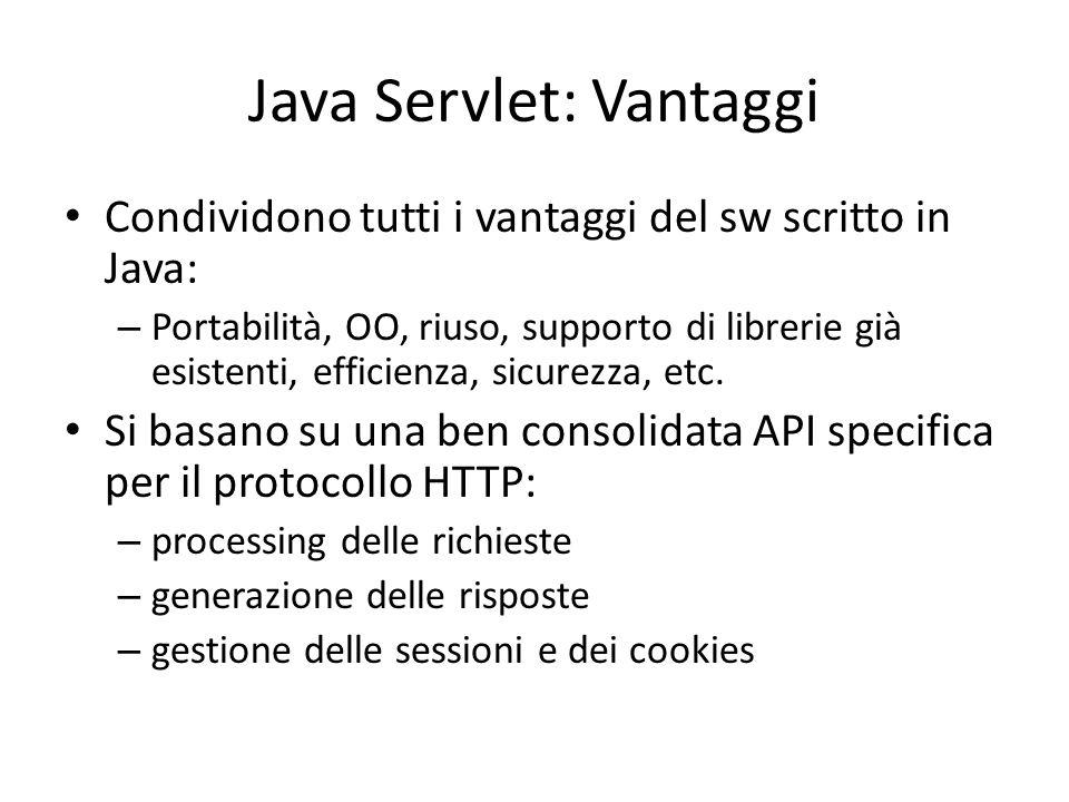 Java Servlet: Vantaggi