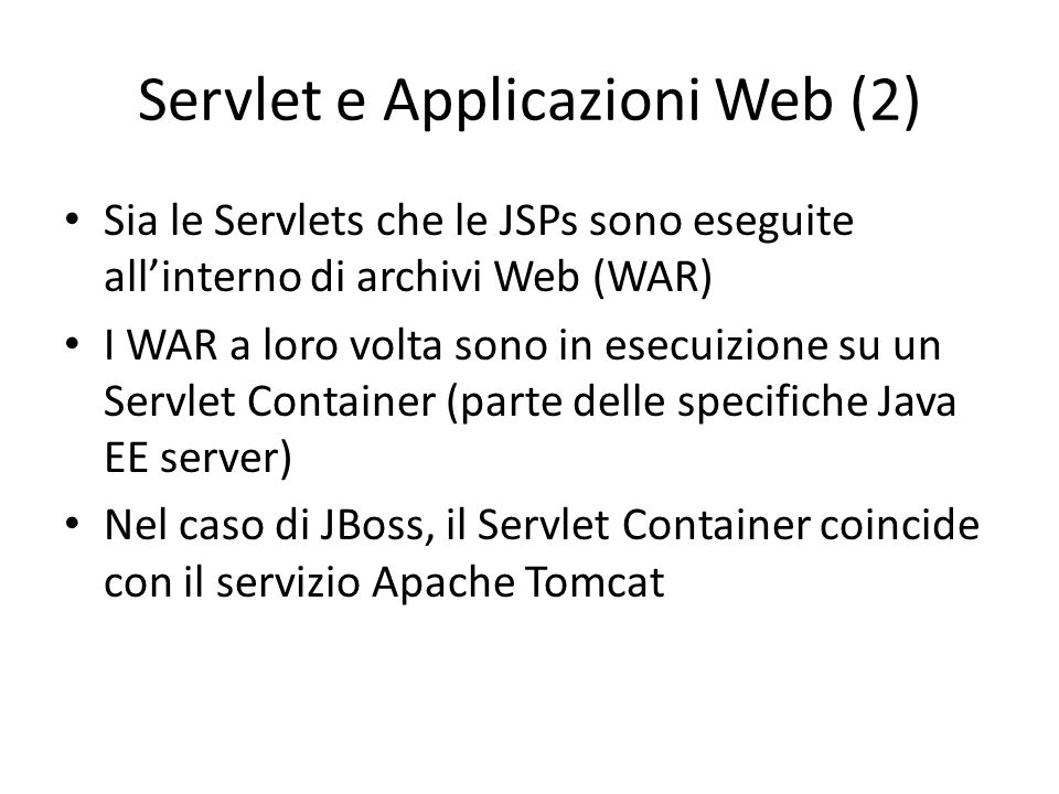 Servlet e Applicazioni Web (2)