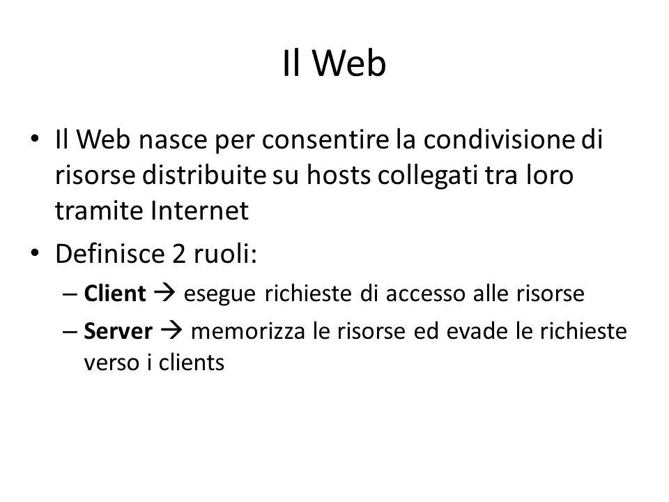 Il Web Il Web nasce per consentire la condivisione di risorse distribuite su hosts collegati tra loro tramite Internet.