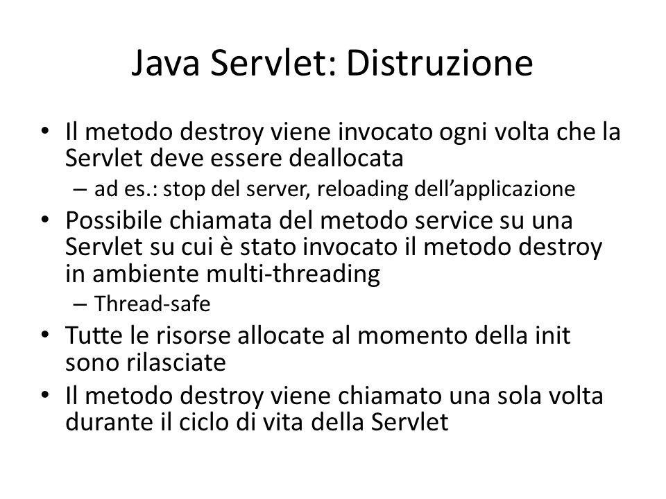 Java Servlet: Distruzione