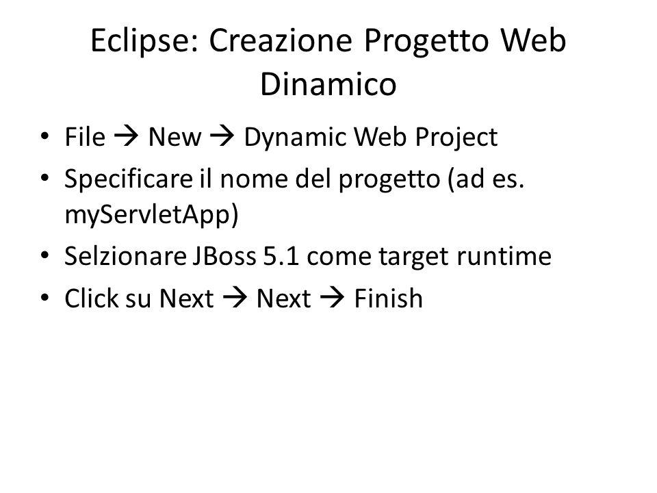 Eclipse: Creazione Progetto Web Dinamico