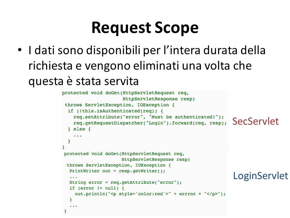 Request Scope I dati sono disponibili per l'intera durata della richiesta e vengono eliminati una volta che questa è stata servita.