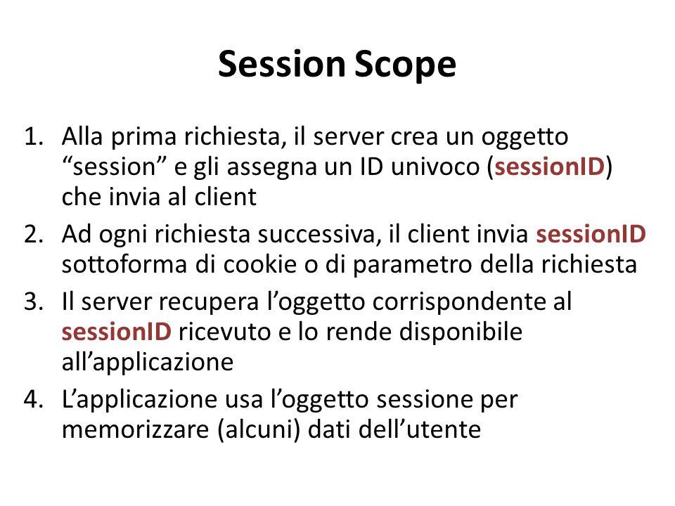 Session Scope Alla prima richiesta, il server crea un oggetto session e gli assegna un ID univoco (sessionID) che invia al client.