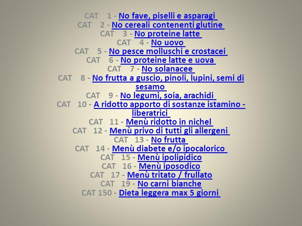 CAT 1 - No fave, piselli e asparagi CAT 2 - No cereali contenenti glutine CAT 3 - No proteine latte CAT 4 - No uovo CAT 5 - No pesce molluschi e crostacei CAT 6 - No proteine latte e uova CAT 7 - No solanacee CAT 8 - No frutta a guscio, pinoli, lupini, semi di sesamo CAT 9 - No legumi, soia, arachidi CAT 10 - A ridotto apporto di sostanze istamino - liberatrici CAT 11 - Menù ridotto in nichel CAT 12 - Menù privo di tutti gli allergeni CAT 13 - No frutta CAT 14 - Menù diabete e/o ipocalorico CAT 15 - Menù ipolipidico CAT 16 - Menù iposodico CAT 17 - Menù tritato / frullato CAT 19 - No carni bianche CAT 150 - Dieta leggera max 5 giorni