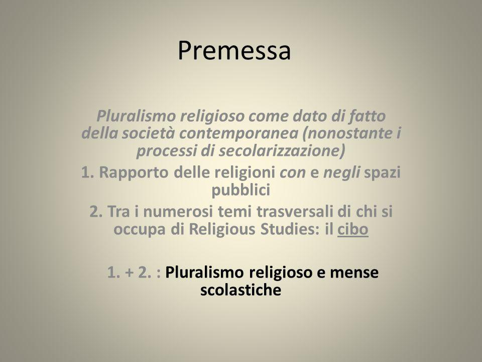 Premessa Pluralismo religioso come dato di fatto della società contemporanea (nonostante i processi di secolarizzazione)