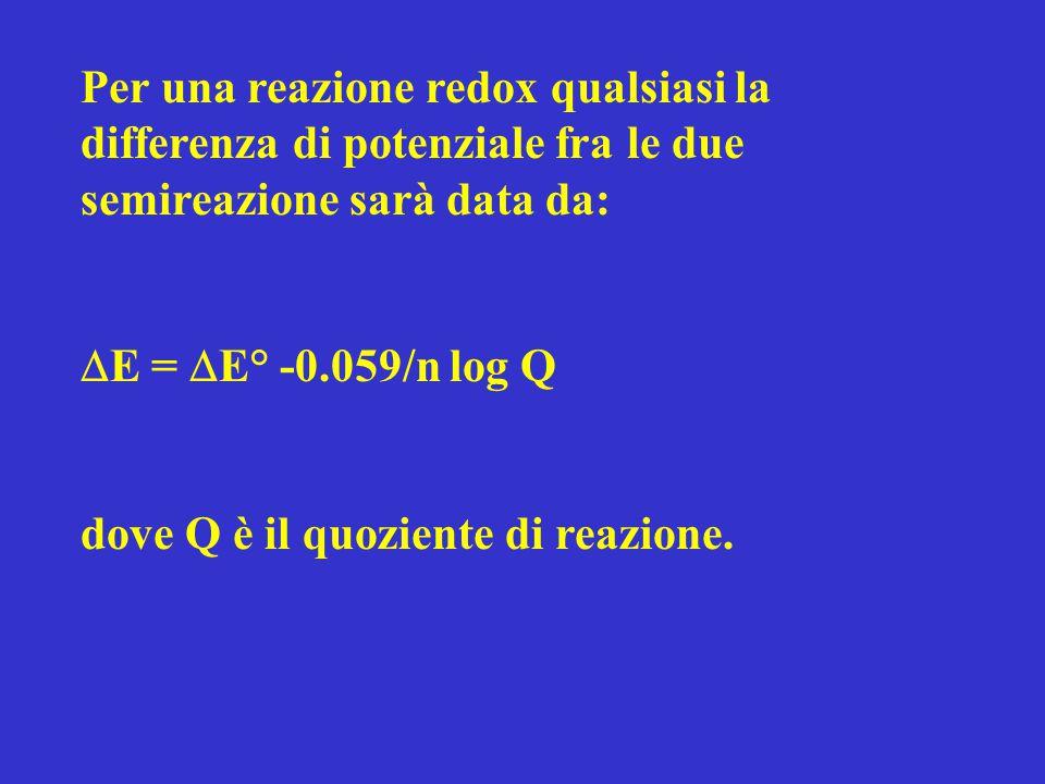 Per una reazione redox qualsiasi la differenza di potenziale fra le due semireazione sarà data da: