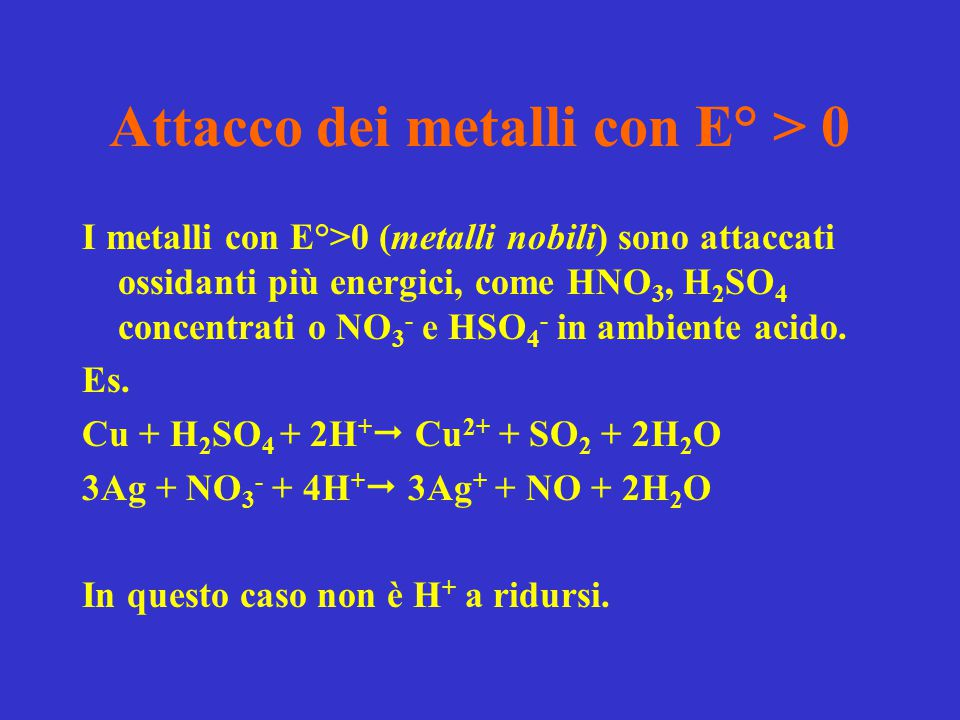 Attacco dei metalli con E° > 0