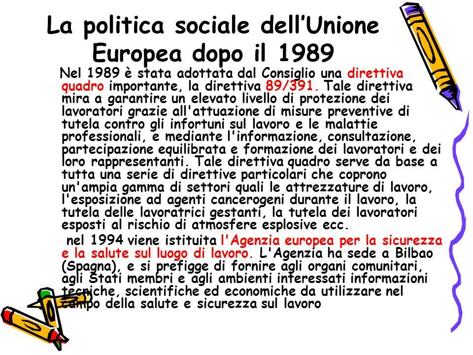 La politica sociale dell'Unione Europea dopo il 1989