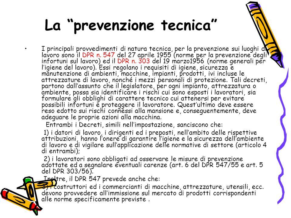 La prevenzione tecnica