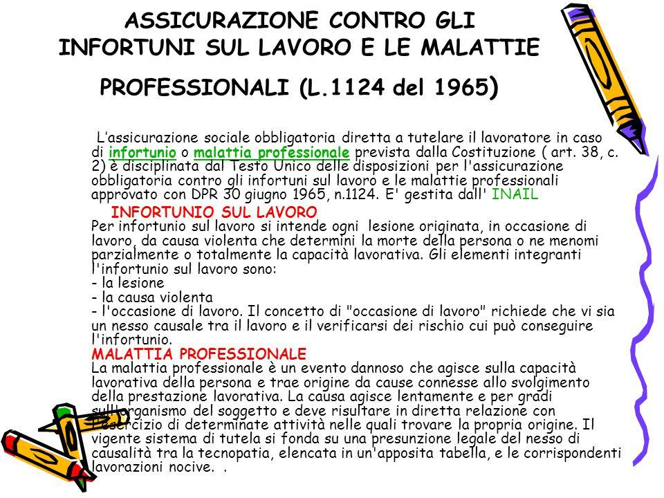 ASSICURAZIONE CONTRO GLI INFORTUNI SUL LAVORO E LE MALATTIE PROFESSIONALI (L.1124 del 1965)
