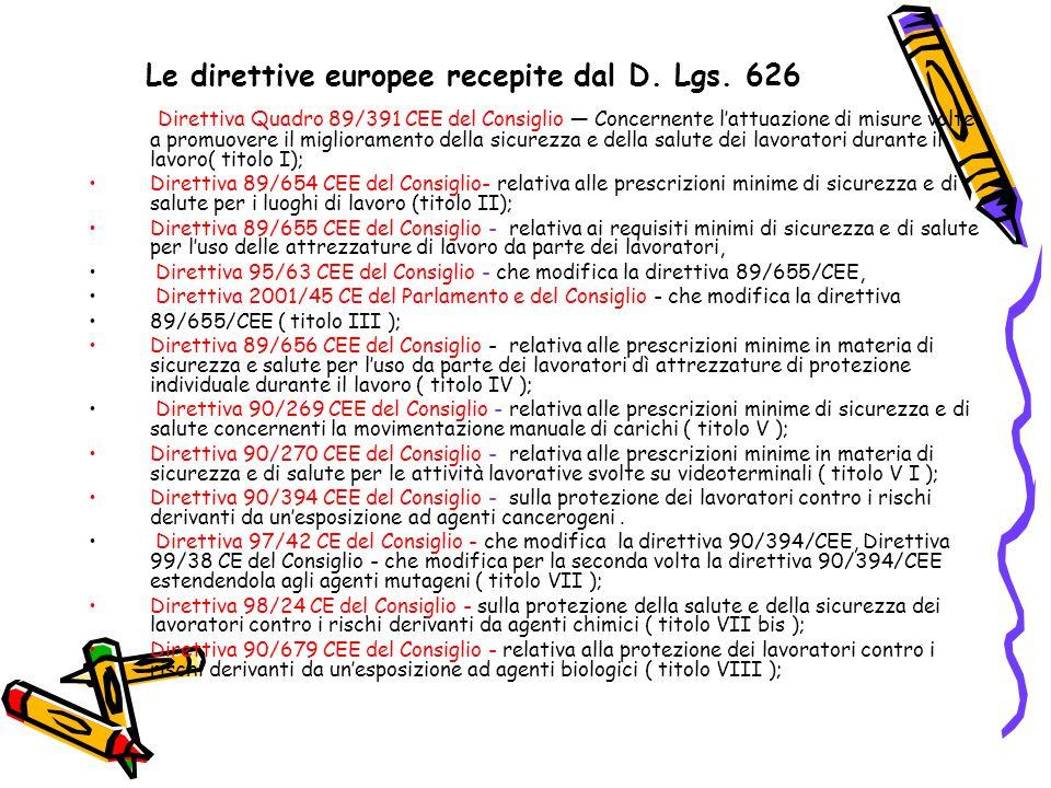 Le direttive europee recepite dal D. Lgs. 626