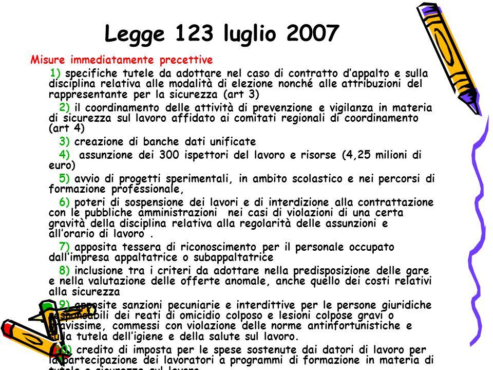 Legge 123 luglio 2007 Misure immediatamente precettive