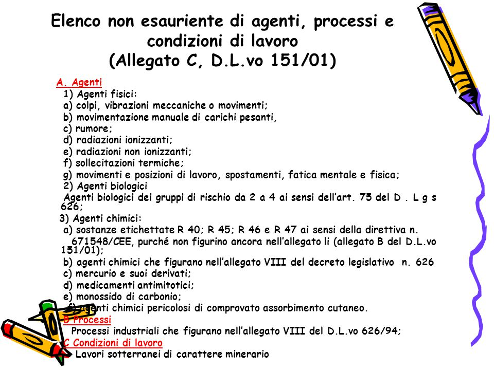 Elenco non esauriente di agenti, processi e condizioni di lavoro (Allegato C, D.L.vo 151/01)