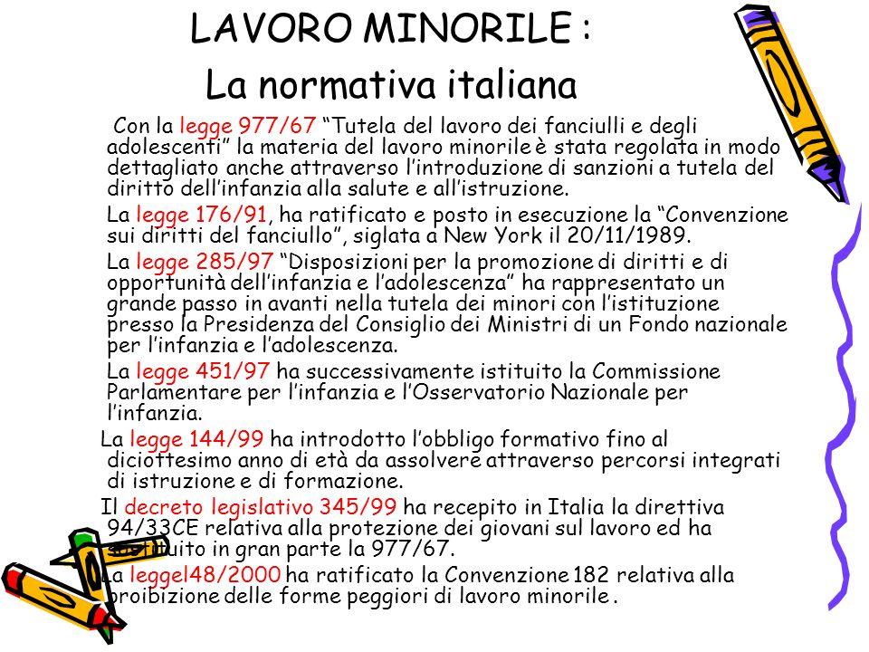 LAVORO MINORILE : La normativa italiana
