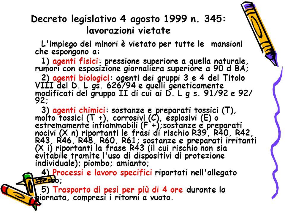 Decreto legislativo 4 agosto 1999 n. 345: lavorazioni vietate