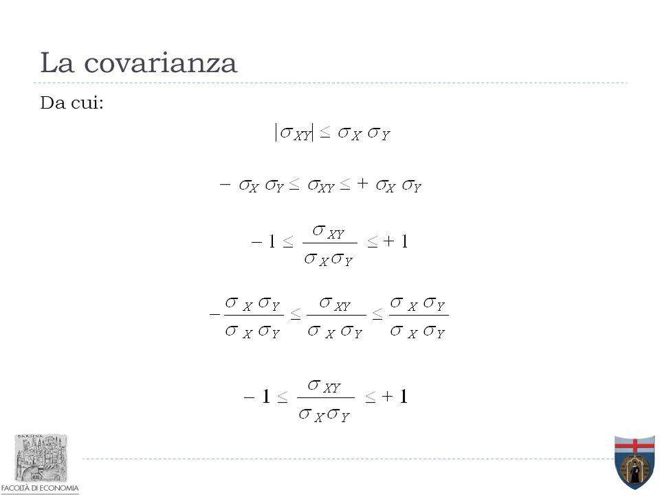 La covarianza Da cui: