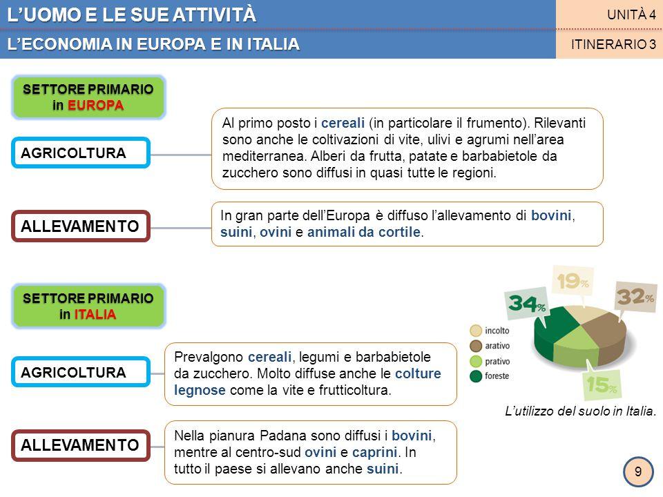 SETTORE PRIMARIO in EUROPA SETTORE PRIMARIO in ITALIA