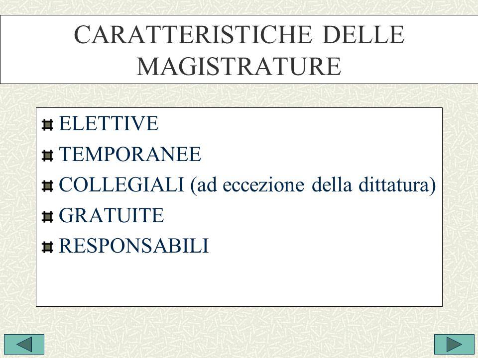 CARATTERISTICHE DELLE MAGISTRATURE