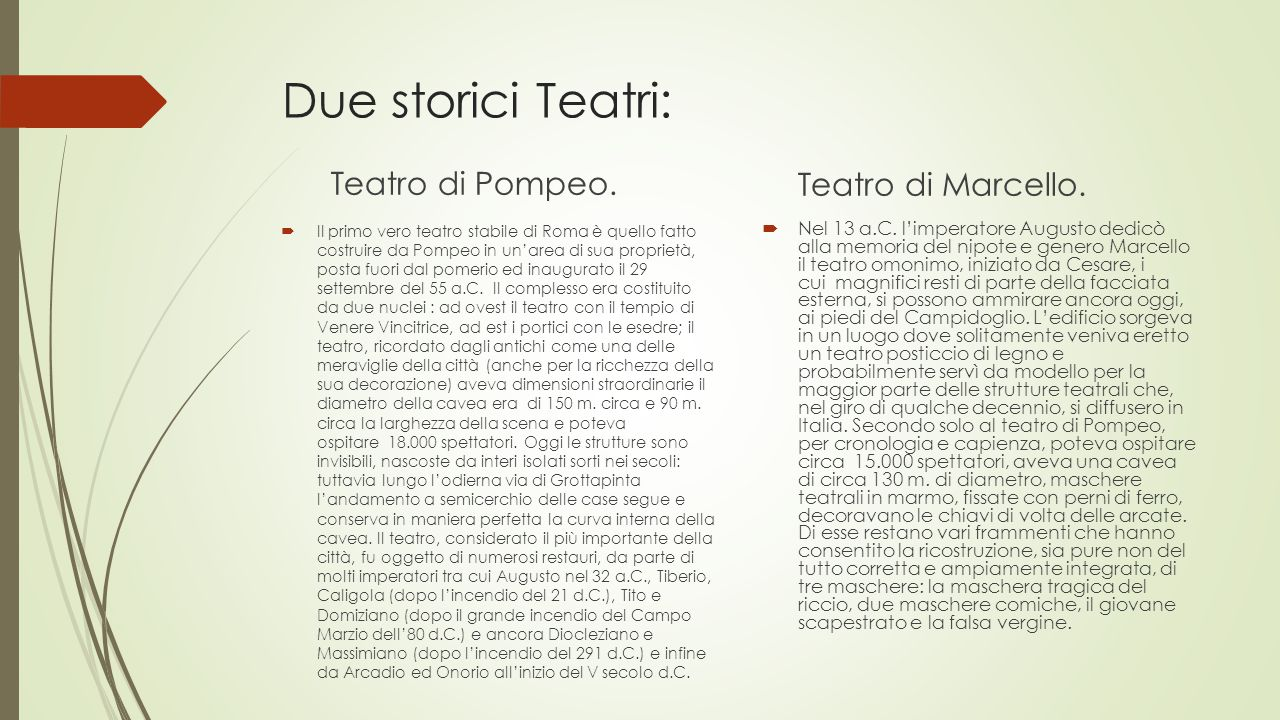 Due storici Teatri: Teatro di Pompeo. Teatro di Marcello.