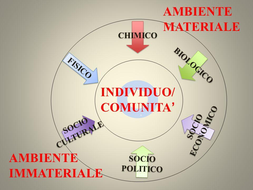 AMBIENTE MATERIALE INDIVIDUO/ COMUNITA' AMBIENTE IMMATERIALE CHIMICO