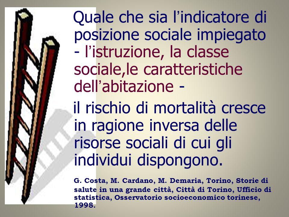 Quale che sia l'indicatore di posizione sociale impiegato - l'istruzione, la classe sociale,le caratteristiche dell'abitazione -