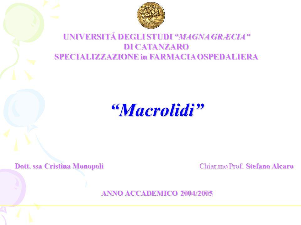 Macrolidi UNIVERSITÁ DEGLI STUDI MAGNA GRÆCIA DI CATANZARO