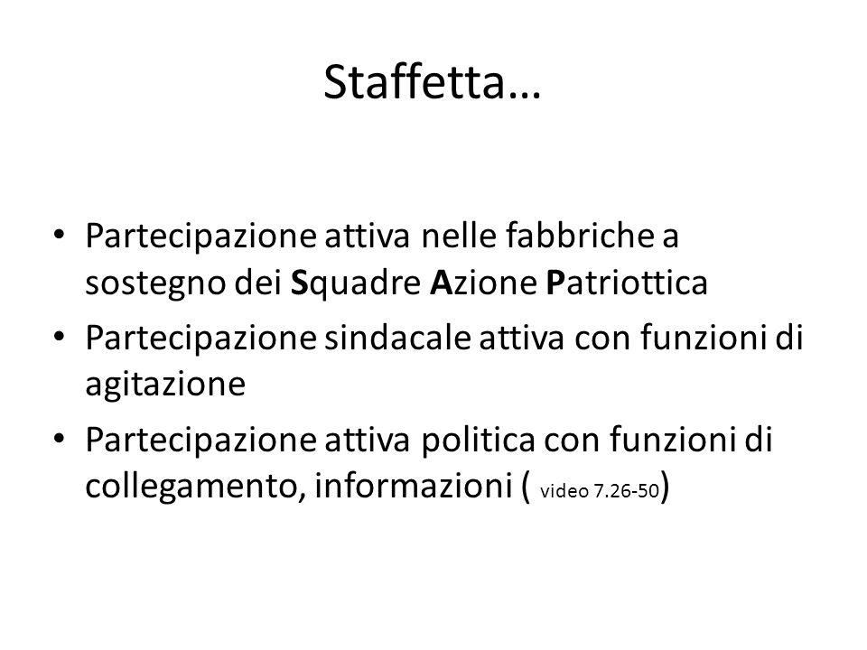 Staffetta… Partecipazione attiva nelle fabbriche a sostegno dei Squadre Azione Patriottica.